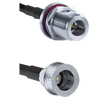 N Reverse Polarity Female Bulkhead Connector On LMR-240UF UltraFlex To QN Male Connector Coaxial Cab
