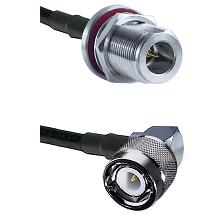 N Reverse Polarity Female Bulkhead Connector On LMR-240UF UltraFlex To C Right Angle Male Connector