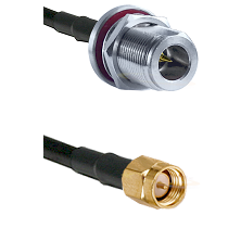 N Reverse Polarity Female Bulkhead on LMR240 Ultra Flex to SMA Reverse Thread Male Coaxial Cable Ass