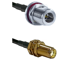 N Reverse Polarity Female Bulkhead on LMR240 Ultra Flex to SMA Female Bulkhead Coaxial Cable Assembl