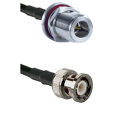 N Reverse Polarity Female Bulkhead on RG142 to BNC Male Cable Assembly