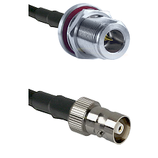 N Reverse Polarity Female Bulkhead on RG142 to C Female Cable Assembly