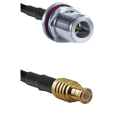 N Reverse Polarity Female Bulkhead on RG142 to MCX Male Cable Assembly