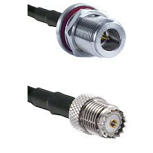 N Reverse Polarity Female Bulkhead Cable Assembly to RG142 to Mini-UHF Female Cable Assembly
