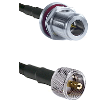 N Reverse Polarity Female Bulkhead on RG142 to UHF Male Cable Assembly