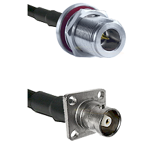 N Reverse Polarity Female Bulkhead Cable Assembly to RG400 to C 4 Hole Female Cable Assembly