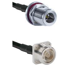 N Reverse Polarity Female Bulkhead on RG58C/U to 7/16 4 Hole Female Cable Assembly