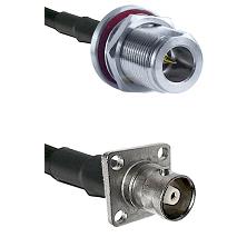 N Reverse Polarity Female Bulkhead on RG58C/U to C 4 Hole Female Cable Assembly