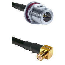 N Reverse Polarity Female Bulkhead on RG58C/U to MCX Right Angle Male Cable Assembly
