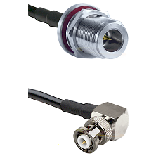 N Reverse Polarity Female Bulkhead on RG58C/U to MHV Right Angle Male Cable Assembly