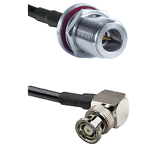 N Reverse Polarity Female Bulkhead on RG58C/U to BNC Reverse Polarity Right Angle Male Coaxial Cable