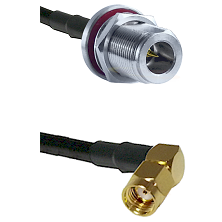 N Reverse Polarity Female Bulkhead on RG58 to SMA Reverse Polarity Right Angle Male Coaxial Cable As
