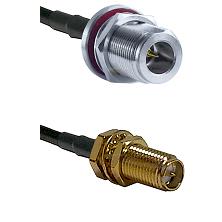 N Reverse Polarity Female Bulkhead on RG58C/U to SMA Reverse Polarity Female Bulkhead Coaxial Cable