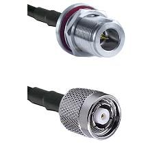 N Reverse Polarity Female Bulkhead on RG58C/U to TNC Reverse Polarity Male Cable Assembly