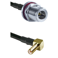 N Reverse Polarity Female Bulkhead on RG58C/U to SLB Right Angle Male Cable Assembly