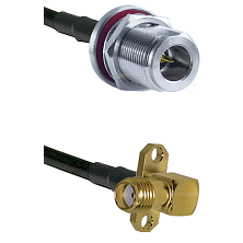 N Reverse Polarity Female Bulkhead on RG58C/U to SMA 2 Hole Right Angle Female Coaxial Cable Assembl