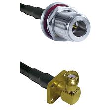 N Reverse Polarity Female Bulkhead on RG58C/U to SMA 4 Hole Right Angle Female Coaxial Cable Assembl