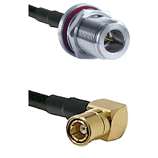 N Reverse Polarity Female Bulkhead on RG58C/U to SMB Right Angle Female Cable Assembly