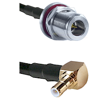N Reverse Polarity Female Bulkhead on RG58C/U to SMB Right Angle Male Cable Assembly