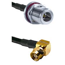 N Reverse Polarity Female Bulkhead on RG58C/U to SMC Right Angle Female Cable Assembly