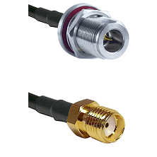N Reverse Polarity Female Bulkhead on RG58C/U to SMA Reverse Thread Female Cable Assembly
