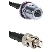 N Reverse Polarity Female Bulkhead on RG58C/U to SHV Plug Cable Assembly