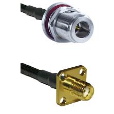 N Reverse Polarity Female Bulkhead on RG58C/U to SMA 4 Hole Female Cable Assembly