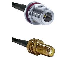 N Reverse Polarity Female Bulkhead on RG58C/U to SMA Female Bulkhead Cable Assembly