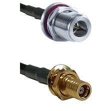 N Reverse Polarity Female Bulkhead on RG58C/U to SMB Female Bulkhead Cable Assembly