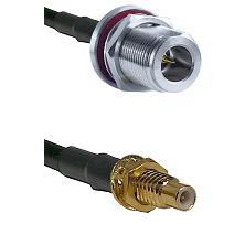 N Reverse Polarity Female Bulkhead on RG58C/U to SMC Male Bulkhead Cable Assembly