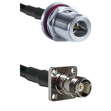 N Reverse Polarity Female Bulkhead on RG58C/U to TNC 4 Hole Female Cable Assembly