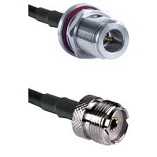 N Reverse Polarity Female Bulkhead on RG58C/U to UHF Female Cable Assembly
