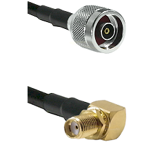 N Reverse Polarity Male on LMR100 to SMA Reverse Thread Right Angle Female Bulkhead Coaxial Cable As