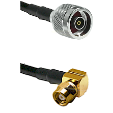 N Reverse Polarity Male on LMR-195-UF UltraFlex to SMC Right Angle Female Cable Assembly