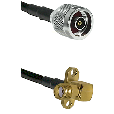 N Reverse Polarity Male on LMR240 Ultra Flex to SMA 2 Hole Right Angle Female Cable Assembly