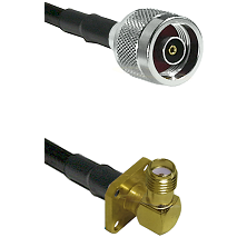 N Reverse Polarity Male on LMR240 Ultra Flex to SMA 4 Hole Right Angle Female Cable Assembly