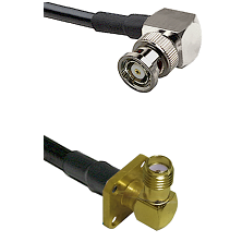 BNC Reverse Polarity Right Angle Male on Belden 83242 RG142 to SMA 4 Hole Right Angle Female Coaxial