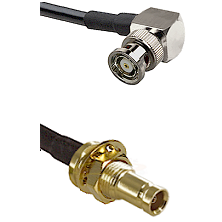 BNC Reverse Polarity Right Angle Male on LMR200 UltraFlex to 10/23 Female Bulkhead Coaxial Cable A