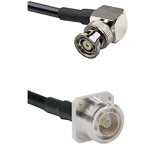 BNC Reverse Polarity Right Angle Male Connector On LMR-240UF UltraFlex To 7/16 4 Hole Female Connect