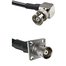 BNC Reverse Polarity Right Angle Male Connector On LMR-240UF UltraFlex To C 4 Hole Female Connector