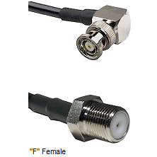 BNC Reverse Polarity Right Angle Male Connector On LMR-240UF UltraFlex To F Female Connector Coaxial