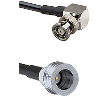BNC Reverse Polarity Right Angle Male Connector On LMR-240UF UltraFlex To QN Male Connector Coaxial