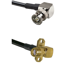 BNC Reverse Polarity Right Angle Male on LMR240 Ultra Flex to SMA 2 Hole Right Angle Female Coaxial