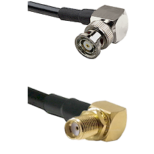 BNC Reverse Polarity Right Angle Male Connector On LMR-240UF UltraFlex To SMA Reverse Thread Right A