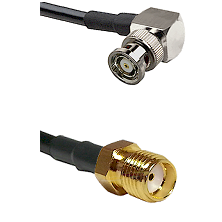 BNC Reverse Polarity Right Angle Male Connector On LMR-240UF UltraFlex To SMA Reverse Thread Female