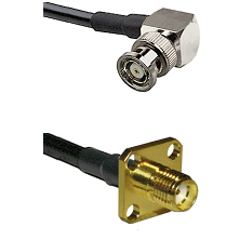 BNC Reverse Polarity Right Angle Male Connector On LMR-240UF UltraFlex To SMA 4 Hole Female Connecto