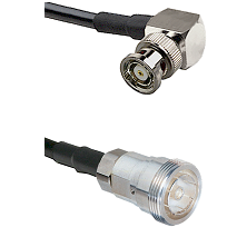 BNC Reverse Polarity Right Angle Male on RG142 to 7/16 Din Female Cable Assembly