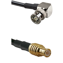 BNC Reverse Polarity Right Angle Male on RG142 to MCX Male Cable Assembly