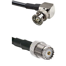 BNC Reverse Polarity Right Angle Male on RG142 to Mini-UHF Female Cable Assembly