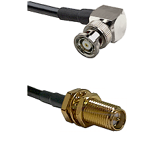 BNC Reverse Polarity Right Angle Male on RG400 to SMA Reverse Polarity Female Bulkhead Coaxial Cable
